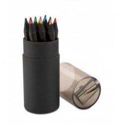 12 kolorowych kredek w czarnej tubie