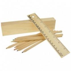 8 drewnianych kredek z linijką