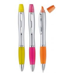 Plastikowy długopis i zakreślacz 2 w 1