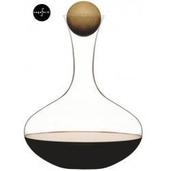 Oval oak karafka do wina z dębowym korkiem